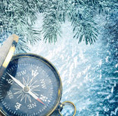 Compass on snow — Stock Photo