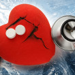 Stock Photo: Red heart, stethoscope and pills