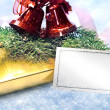 Christmas decoration with gift and card — Stock Photo #38083099