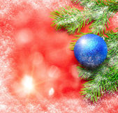 Firtree and Christmas tree decoration — Stock Photo