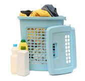 Washing basket with detergent — Stock Photo