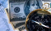 Budget, compass and money — Stock Photo