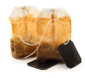 Used tea bags with label — Stock Photo