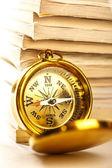 Magazines and compass — Foto de Stock
