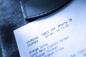Cafe paper cheque — Stock Photo
