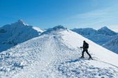 A man wandering through the mountains Tatras. — Stock Photo