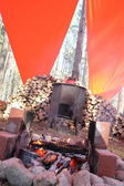 A fire in the forest camp — Stock Photo