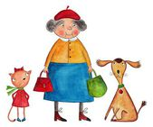 Granny with cat and dog — Stock Photo