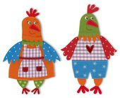 Rooster and hen. Cartoon character — Stock Photo
