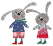 Pair of bunnies cut out of felt and wool — Stock Photo