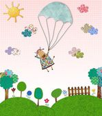 Cow flying with parachute — Stock Photo