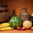 Agricultural products and wooden barrel — Stock Photo #34659245