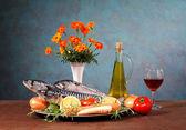 Caballa, verduras y flores — Foto de Stock