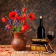 Red poppy in a ceramic vases and jewelry  — Stock Photo