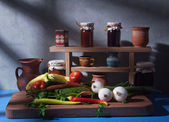 Vegetables and jam — Stock Photo