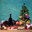Decorative Christmas tree and food  — Stock Photo
