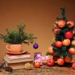 Books and Christmas tree  — Stock Photo