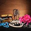 Stock Photo: Jewellery box and flowers