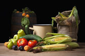 Fruits, vegetables and jute sack — Stock Photo