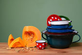 Pumpkin and old metal utensils — Foto de Stock