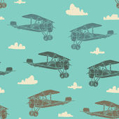 Seamless pattern retro airplanes — Stock Vector