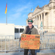Protester in front of the Bundestag - Stock Photo