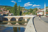 Bridge on Miljacka river in Sarajevo the capital city of Bosnia — Stock Photo