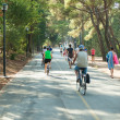 Cyclists and pedestrians on track — Stock Photo