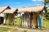 Surfboards in rack — Stock Photo