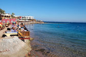 Tourists enjoying Sinai coast — Stock Photo