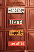 Happiness door sign — Stock Photo