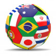 Постер, плакат: 3D render of football and flags representing all countries participating in football world cup in Brazil in 2014