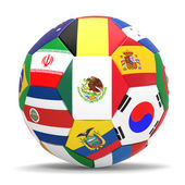 3D render of football and flags representing all countries participating in football world cup in Brazil in 2014 — Stock Photo