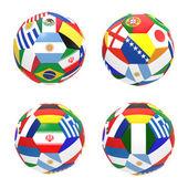 Renderização 3d de 4 bolas de futebol — Foto Stock
