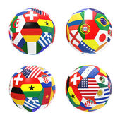 3D render of 4 soccer footballs — Stock Photo