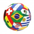 3D render of football with flags — Stock Photo