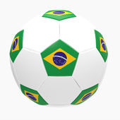 3d render of soccer football with Brazilian flag — Stock Photo