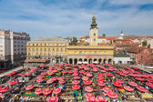 Aerial view of Dolac market in Zagreb, Croatia — Stock Photo