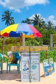Surf lesson stand on Weligama beach in Sri Lanka — Stock Photo