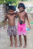 Local kids  posing on street. — Stock Photo