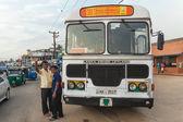 Large public transport bus stopped on street — Stock Photo