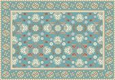 Blue Oriental Floral Carpet Design — Stockvektor