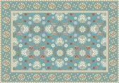 Blue floral orientteppich-design — Stockvektor