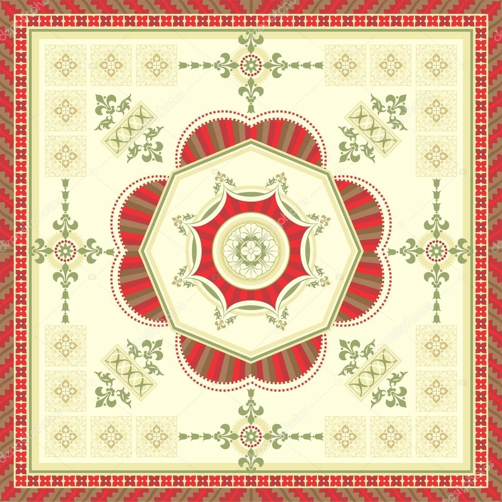 Ornamental square carpet designed in the romanesque style — Stock Vector #12559737