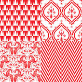 Red and white repeating patterns — Stock Vector