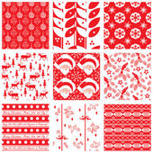 Collection of seamless Christmas swatches — Stock Vector