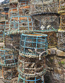A Large Stack of Multicolored Crab Pots — Stock Photo