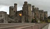 An Evening Bridge to Conwy Castle Shot — Stock Photo