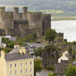 A Conwy, River Conwy and Conwy Castle Shot — Stock Photo