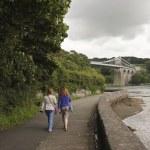 un par de mujeres en el puente colgante de menai — Foto de Stock